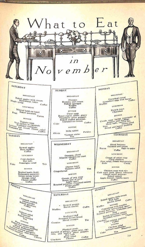 menu for Nov